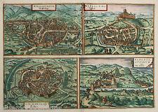 ALSAZIA ALSACE Treviri COLMAR wissemburg Rouffach Baden marrone e Hogenberg 1580
