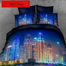 3D Queen Size Fashion City Duvet Cover Pillowcases Quilt Cover Bedding Set O