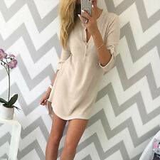New Women V Neck Long Sleeve Jumper Top Ladies Bodycon Sweater Mini Dress Shirt