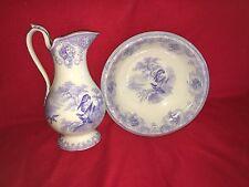 Staffordshire Lavender Transfer Eagle Bowl Pitcher Set Huge Ca. 1840