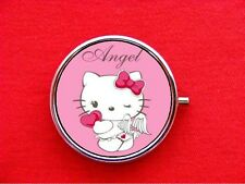 HELLO ANGEL KITTY CAT ROUND METAL PILL MINT BOX CASE