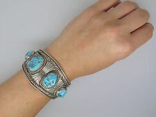 ANTIQUE VINTAGE STERLING TURQUOISE MENS CUFF OLD PAWN NAVAJO ? 68.2g