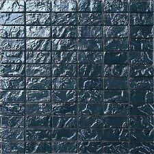 1 qm Glas Mosaik Fliesen Matte Blau Texturiert Lava Baustein Effekt (MT0122 m2)