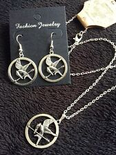 *2pc SET* Hunger Games Inspired Earrings + Necklace Silver Mockingjay **UK**