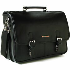 Alpine Swiss Leather Briefcase Laptop Case Messenger Bag *1 Year Mfg's Warr