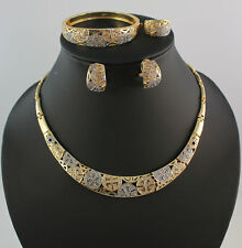 African 18K Gold Plated Statement Necklace Earrings Bangle Ring Jewelry Sets