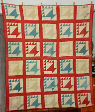 Antique Vintage Baskets Quilt Red Sashing 61 x 73