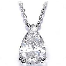 1.50 carat Pear Shape Natural Diamond 14k White gold Pendant Necklace