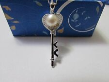 "925 Sterling Silver Key To The Heart Pendant With 6mm White Pearl 18"" Necklace"