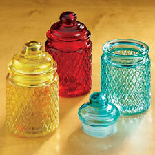 6 PC Glass Bright Colors Jars Tight Lids AMBER RED BLUE Food Cotton Balls NEW!