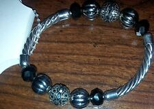 New Croft & Barrow Silver Tone Bead Stretch Bracelet Orig $20 Free Shipping!