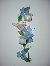 Silver Metal Stain Glass Flowers And Birds Candle Holder