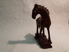 "VINTAGE 3"" CHINESE HAND CARVED ROSEWOOD GLASS EYES HORSE FIGURINE"