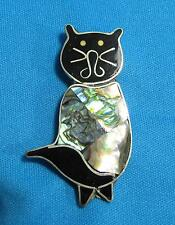 Vtg Cat Black Face Mother of Pearl Abalone Shell Body Alpaca Mexico Pin Brooch