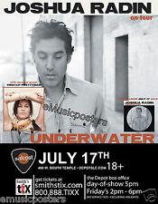 JOSHUA RADIN / TRISTAN PRETTYMAN 2012 SALT LAKE CONCERT TOUR POSTER - Folk Music