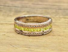 1.61ctw Genuine Canary Yellow & White Diamond 14k Rose Gold Sterling Silver Ring