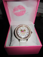 BETSEY JOHNSON WATCH WHITE OWL BLING BLING WITH ROSE PATTERN ON OWLS BODY