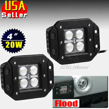 2 x 20W Flood LED Flush Mount Work Light Driving Cube Pods Offroad SUV 4WD Jeep