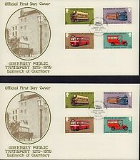 (86005) CLEARANCE GB Guernsey FDC x2 Public Transport GUTTER PAIRS  Aug 1979