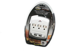 3 AC Outlet Wall Mount Surge Protector Adapter with Dual USB Charging Port 8803U