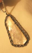Lovely HandCrafted Oblong 5-Sided Metal Bead Mother of Pearl Pendant Necklace