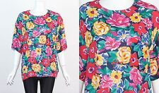 Vintage 1980's MULTI-COLOURED FLORAL PATTERNED OVERSIZED Short Sleeve Top M L