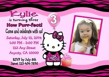 HELLO KITTY CUSTOM PRINTABLE BIRTHDAY PARTY INVITATION & FREE THANK YOU CARD