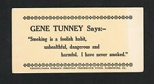 VERY RARE World Champion GENE TUNNEY boxing advertising card boxer Harrisburg PA