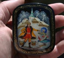 Russian Hand Painted & Black Lacquer Back Box Emelya & The Magic Pike