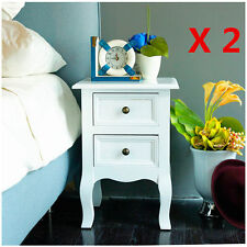 PAIR OF 2 WOODEN BEDSIDE TABLE CABINET NIGHTSTANDS BEDROOM FURNITURE 2 DRAWERS