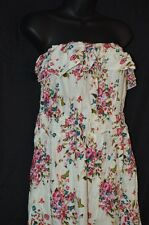 Womens 2X Plus Size NEW Dress Strapless Floral Print High Front Low Back Ruffle