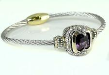 Bali Designer CZ Purple Amethyst Silver Gold Cable Magnetic Bangle Bracelet