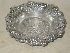 unique metal bowl ornate grapes grape vine leaf pattern signed cast