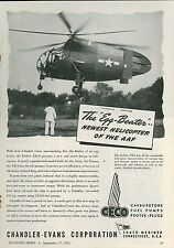1945 CECO Aviation Fuel Pumps Ad Kellett XR-8 Helicopter Egg Beater Copter