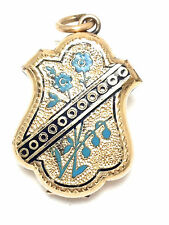 Antique Victorian gold filled locket w/ blue and black enamel and engraving