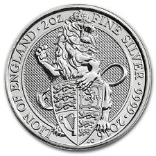 2oz (Oncia Troy) Lion of England, Queens Beasts, 999.9 BELLA MONETA D'ARGENTO, 2016