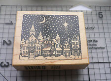 """PSX Personal Stamp Exchange""""Snowy Town"""" Christmas Scene Mounted Rubber Stamp"""