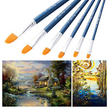 New 6Pcs Artist Brushes Set Oil Color Art Painting Blue Wooden Handles Paint Kit