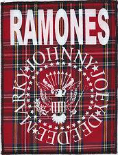 RAMONES PUNK ROCK CBGB 1977 LARGE RED TARTAN PATCH GABBA HEY HO LETS GO JOEY