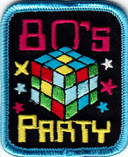 """""""80""""s PARTY"""" - PARTY - CELEBRATION  - RETRO - IRON ON EMBROIDERED PATCH"""