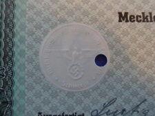 1942 Nazi German Era Municipal Bond-1000 Reichsmark With Swastika Seal