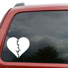 "Broken Heart JDM Car Window Decor Vinyl Decal Sticker- 6"" Wide White"