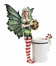 Amy Brown Waiting for Santa Tea Cup Fairy Faery Statue Figurine Chocolate Cookie