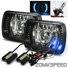 7x6 Black/Crystal Semi Seal White LED Projector Headlights/10000K H4-2 HID Kit