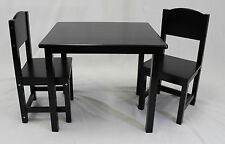 Kids Table and Panel Back Chair Set - 3 Pcs (Solid Hard Wood in Espresso)