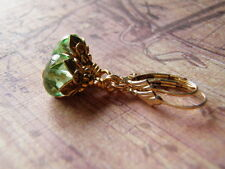 Mermaid Tears Earrings 14k Gold Filled Ear Wire 9 x 6 mm Peridot Green Dangle