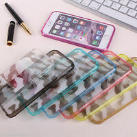 Camouflage Clear Transparent Hard Back Bumper Case Cover for iPhone 5 5S 6 6P