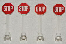 LEGO LOT OF 4 STOP SIGNS ROAD CROSSING STREET CITY TOWN PIECES