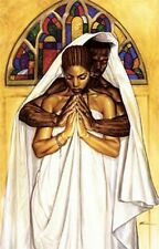 """African American Black Art Print """"PRAY TOGETHER, STAY TOGETHER (MEDIUM)"""" by Wak"""