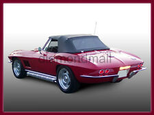 Chevy Chevrolet Corvette 1963-1967 Convertible Soft Top Black Stayfast Cloth